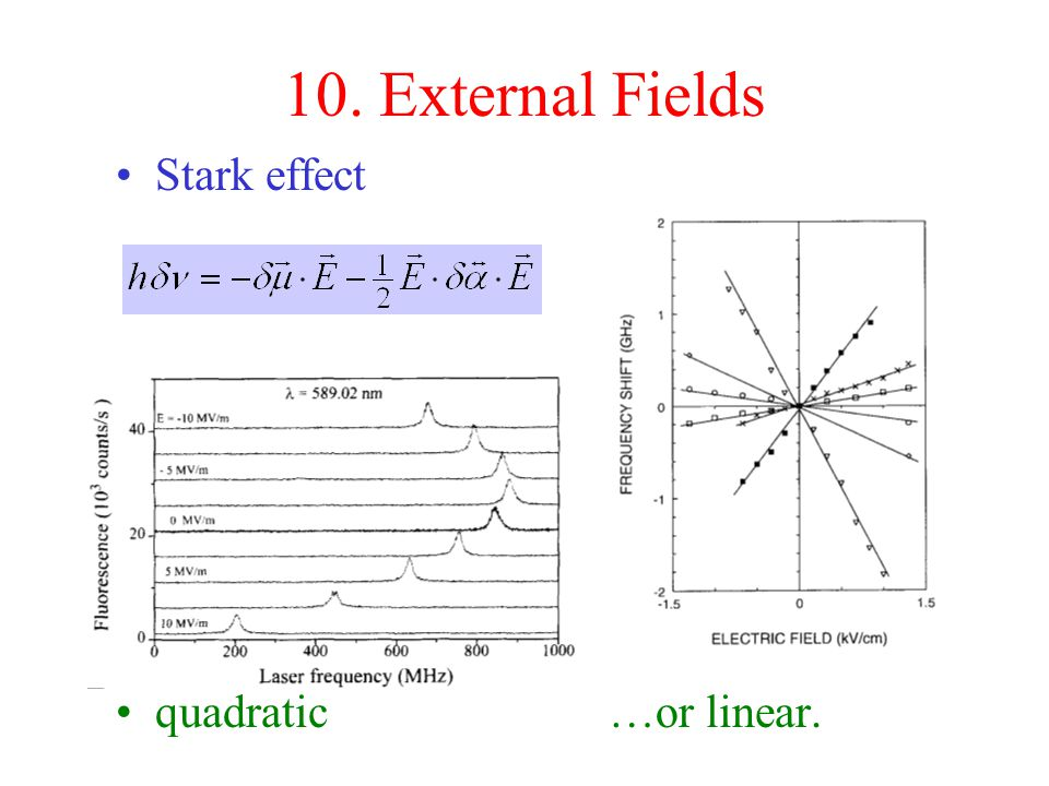 10. External Fields Stark effect quadratic …or linear.
