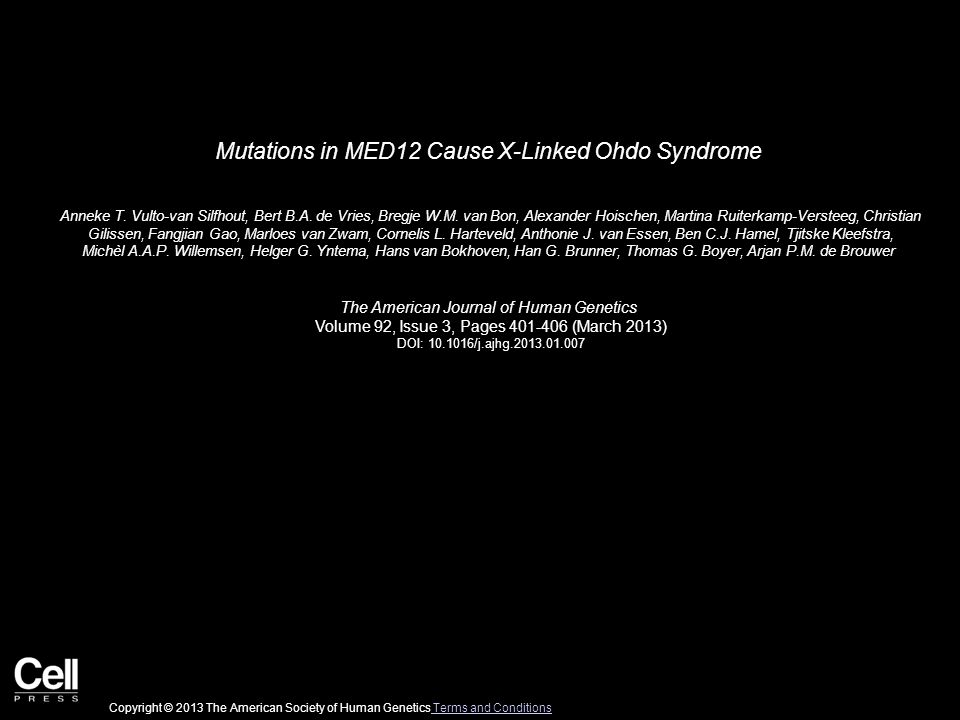 Mutations in MED12 Cause X-Linked Ohdo Syndrome Anneke T.