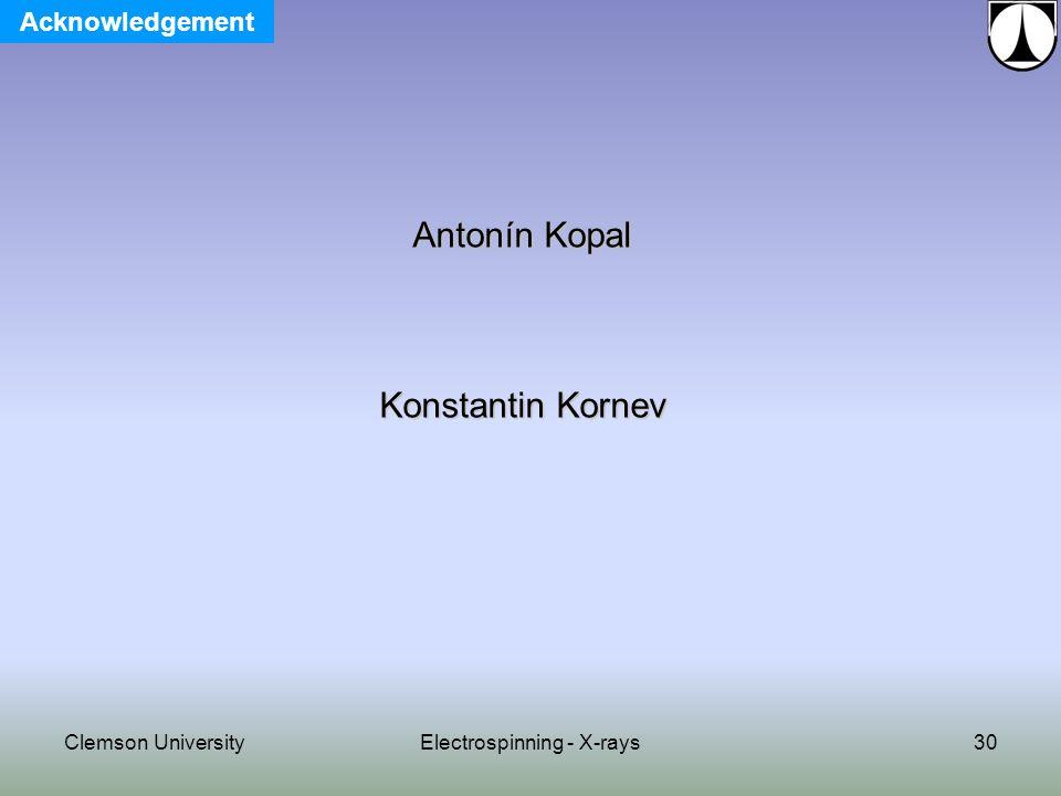 Clemson UniversityElectrospinning - X-rays30 Antonín Kopal Konstantin Kornev Acknowledgement