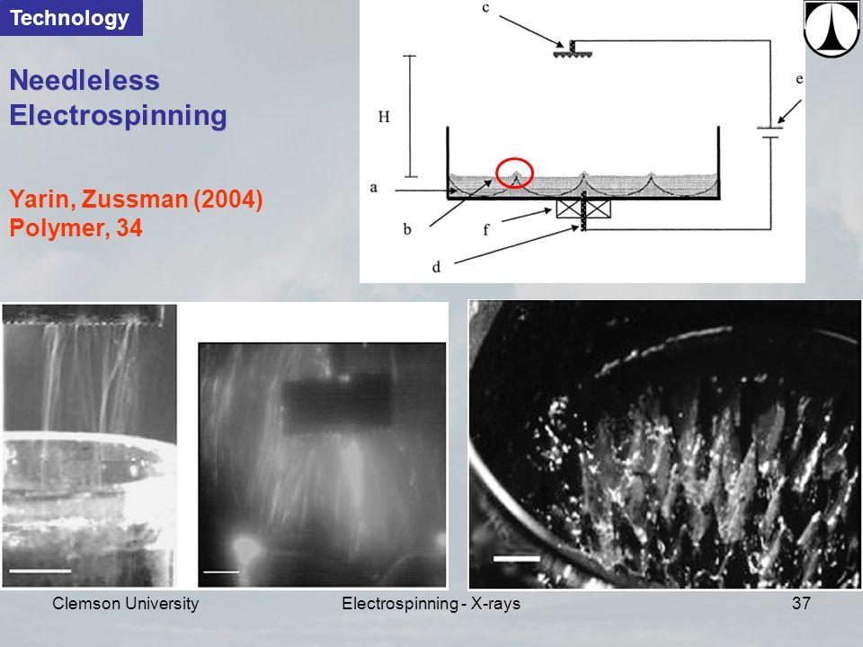 Clemson UniversityElectrospinning - X-rays37 Yarin, Zussman (2004) Polymer, 34 Needleless Electrospinning Technology