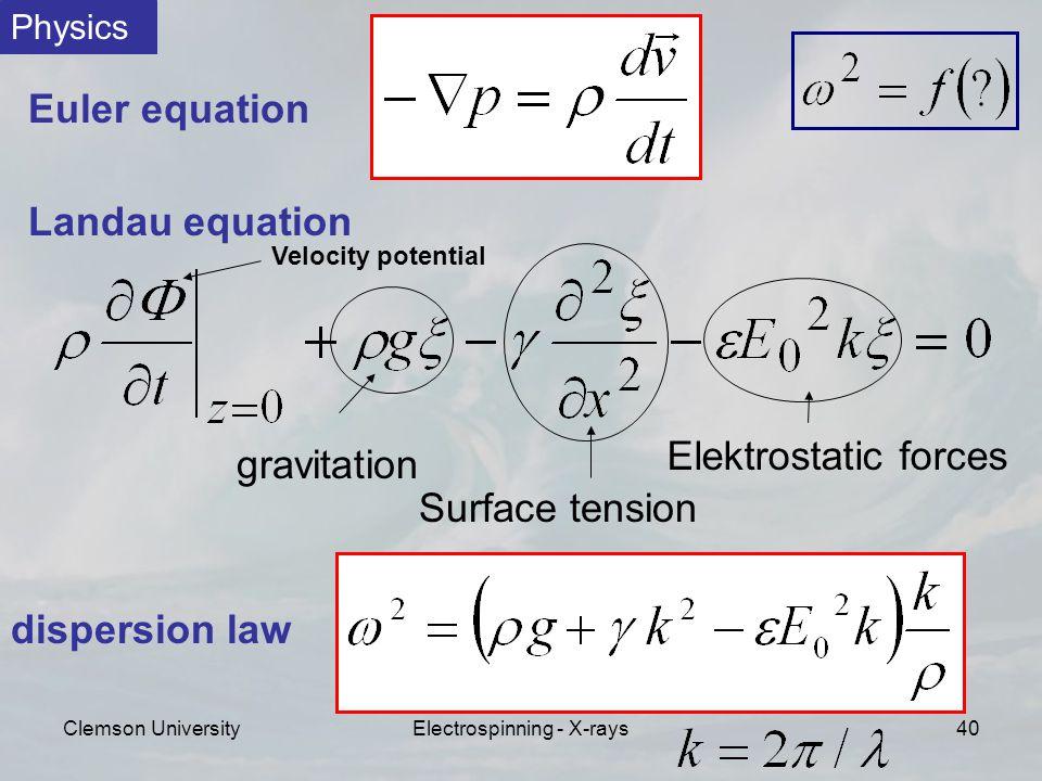 Clemson UniversityElectrospinning - X-rays40 Euler equation Landau equation gravitation Surface tension Elektrostatic forces Physics dispersion law Velocity potential