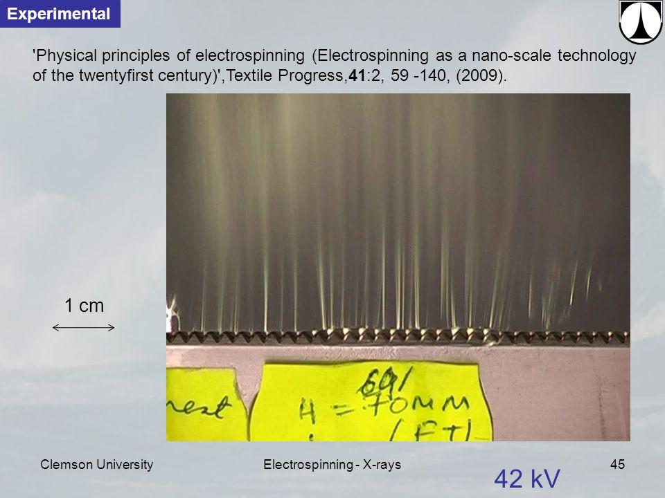 Clemson UniversityElectrospinning - X-rays45 42 kV Physical principles of electrospinning (Electrospinning as a nano-scale technology of the twentyfirst century) ,Textile Progress,41:2, 59 -140, (2009).