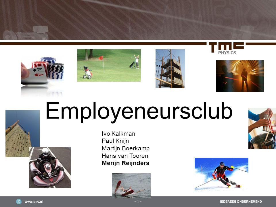 IEDEREEN ONDERNEMENDwww.tmc.nl – 1 – Employeneursclub March 24th, 2011 Ivo Kalkman Paul Knijn Martijn Boerkamp Hans van Tooren Merijn Reijnders
