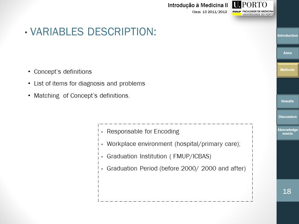 VARIABLES DESCRIPTION: Responsable for Encoding Workplace environment (hospital/primary care); Graduation Institution ( FMUP/ICBAS) Graduation Period (before 2000/ 2000 and after) Concept's definitions List of items for diagnosis and problems Matching of Concept's definitions.
