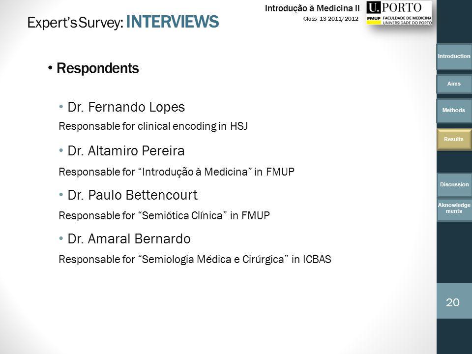 Dr. Fernando Lopes Responsable for clinical encoding in HSJ Dr.