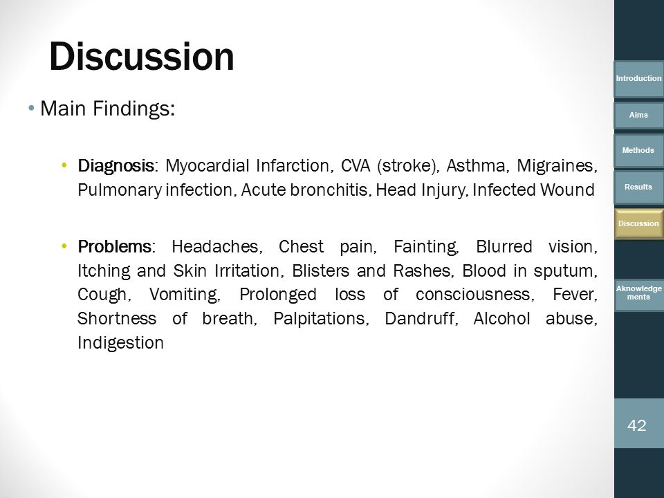 Main Findings: Diagnosis: Myocardial Infarction, CVA (stroke), Asthma, Migraines, Pulmonary infection, Acute bronchitis, Head Injury, Infected Wound Problems: Headaches, Chest pain, Fainting, Blurred vision, Itching and Skin Irritation, Blisters and Rashes, Blood in sputum, Cough, Vomiting, Prolonged loss of consciousness, Fever, Shortness of breath, Palpitations, Dandruff, Alcohol abuse, Indigestion Introduction Aims Methods Results Discussion Aknowledge ments 42 Discussion