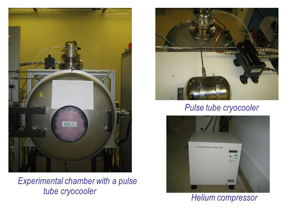 Experimental chamber with a pulse tube cryocooler Pulse tube cryocooler Helium compressor