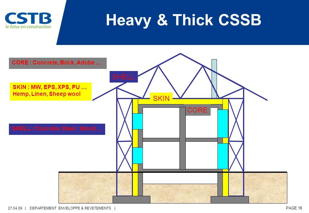 27.04.09 | DEPARTEMENT ENVELOPPE & REVETEMENTS | PAGE 18 CORE : Concrete, Brick, Adobe … Heavy & Thick CSSB CORE SKIN SHELL SKIN : MW, EPS, XPS, PU … Hemp, Linen, Sheep wool SHELL : Concrete, Steel, Wood …