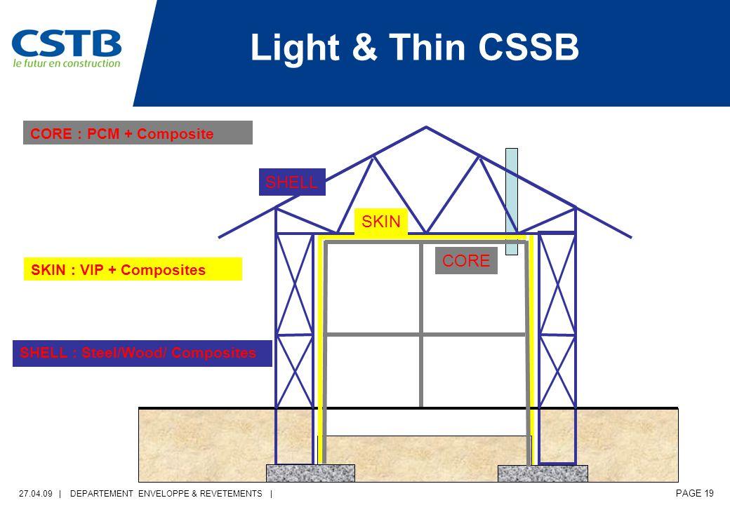 27.04.09 | DEPARTEMENT ENVELOPPE & REVETEMENTS | PAGE 19 CORE : PCM + Composite Light & Thin CSSB CORE SKIN SHELL SKIN : VIP + Composites SHELL : Steel/Wood/ Composites
