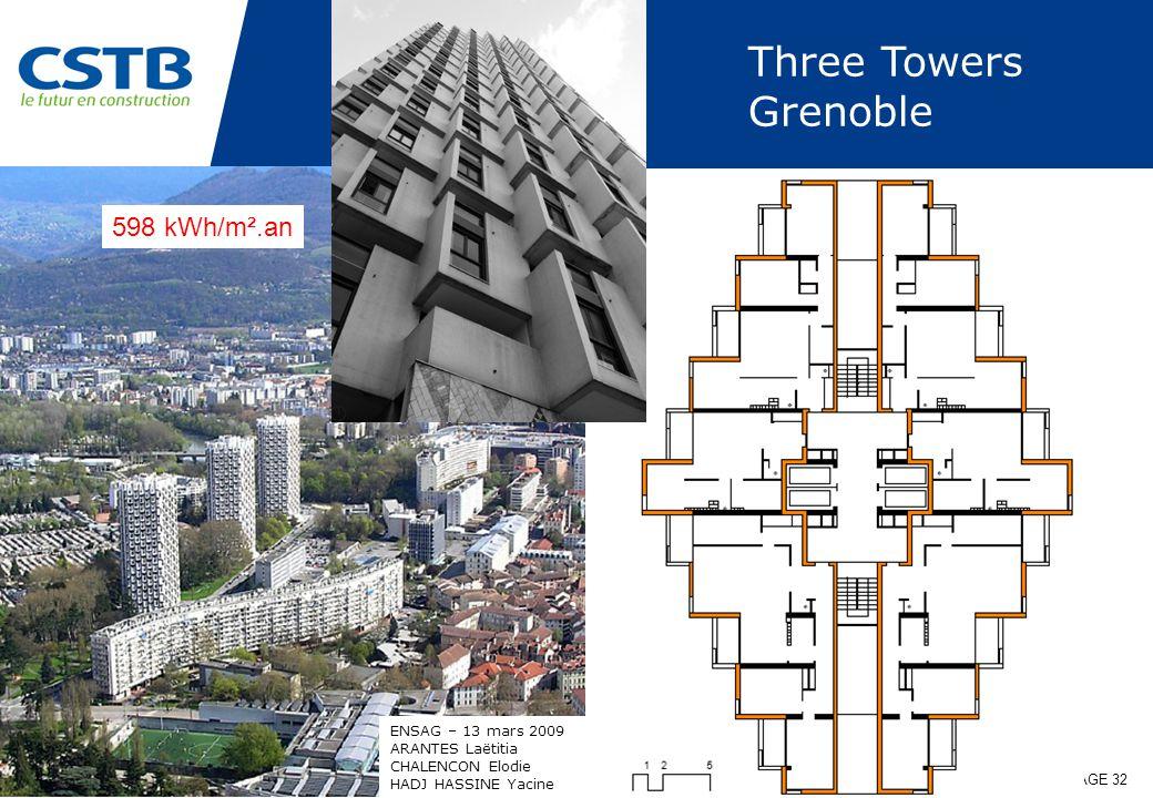 27.04.09 | DEPARTEMENT ENVELOPPE & REVETEMENTS | PAGE 32 Three Towers Grenoble ENSAG – 13 mars 2009 ARANTES Laëtitia CHALENCON Elodie HADJ HASSINE Yacine 598 kWh/m².an