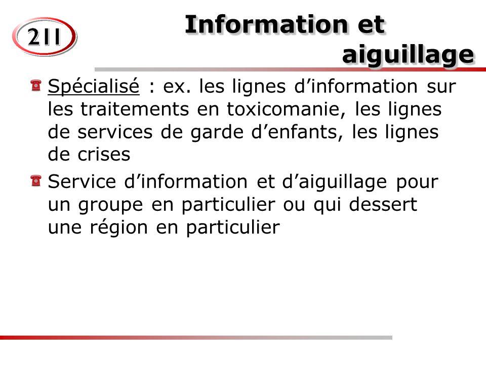 Information et aiguillage Information et aiguillage Spécialisé : ex.
