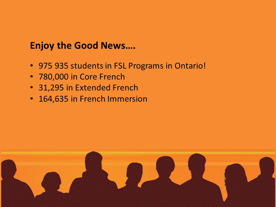 Enjoy the Good News…. 975 935 students in FSL Programs in Ontario.