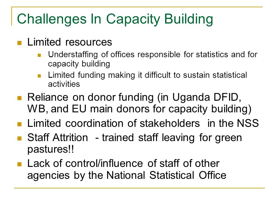 Challenges In Capacity Building Limited resources Understaffing of offices responsible for statistics and for capacity building Limited funding making it difficult to sustain statistical activities Reliance on donor funding (in Uganda DFID, WB, and EU main donors for capacity building) Limited coordination of stakeholders in the NSS Staff Attrition - trained staff leaving for green pastures!.