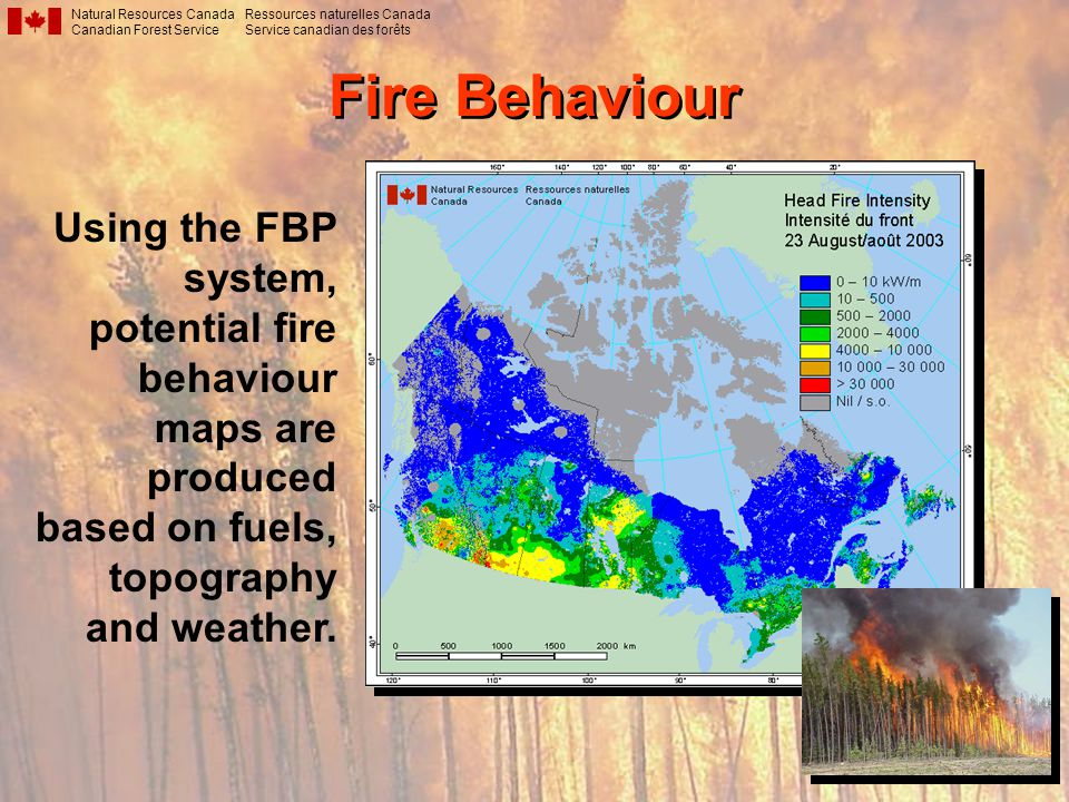 Fire Behaviour Natural Resources Canada Canadian Forest Service Ressources naturelles Canada Service canadian des forêts Using the FBP system, potential fire behaviour maps are produced based on fuels, topography and weather.