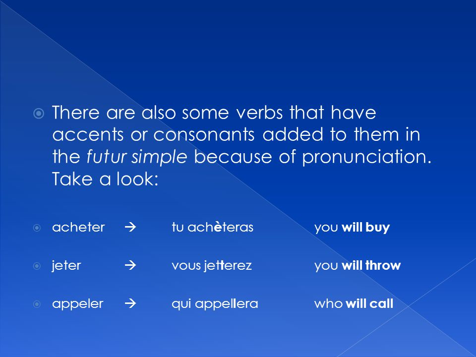  There are also some verbs that have accents or consonants added to them in the futur simple because of pronunciation.