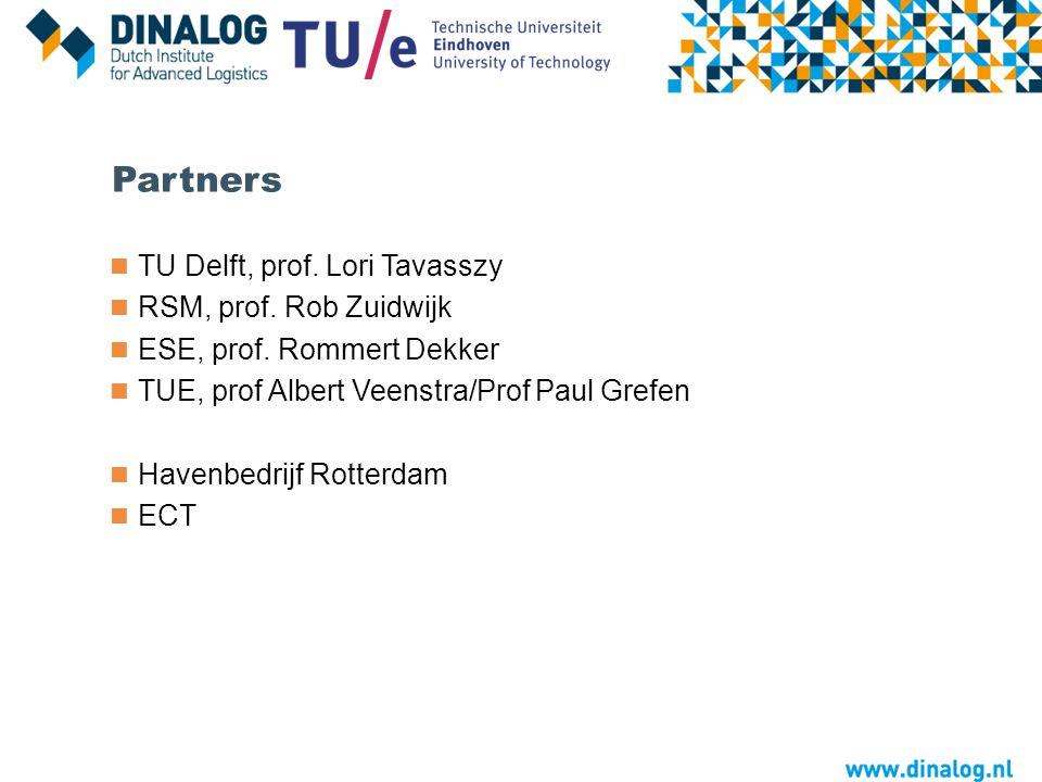 Partners TU Delft, prof. Lori Tavasszy RSM, prof. Rob Zuidwijk ESE, prof. Rommert Dekker TUE, prof Albert Veenstra/Prof Paul Grefen Havenbedrijf Rotte