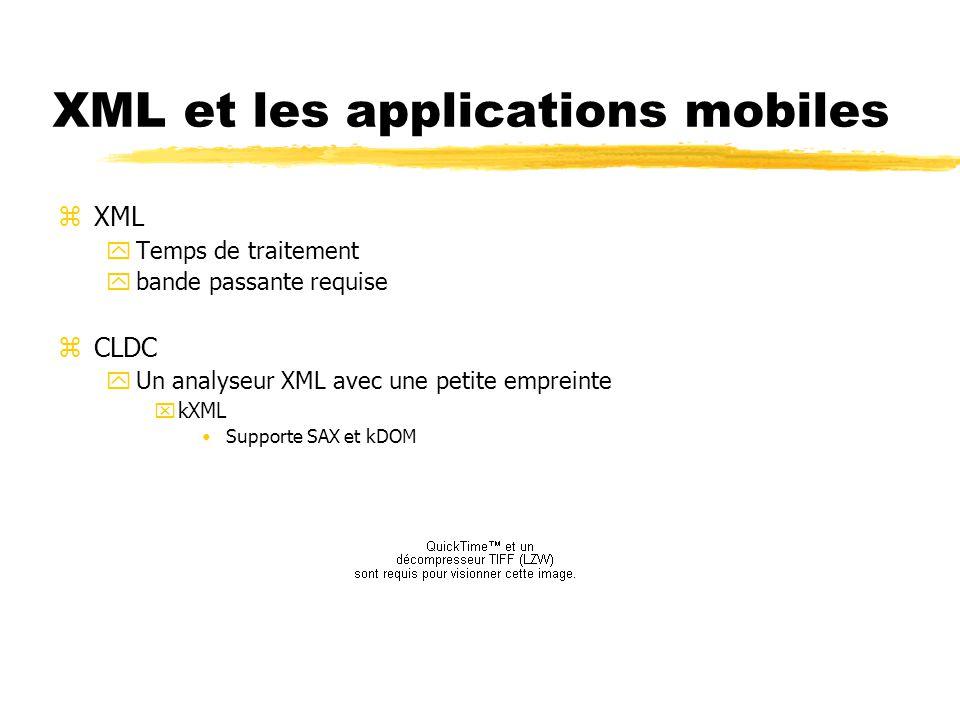 XML et les applications mobiles zXML yTemps de traitement ybande passante requise zCLDC yUn analyseur XML avec une petite empreinte xkXML Supporte SAX
