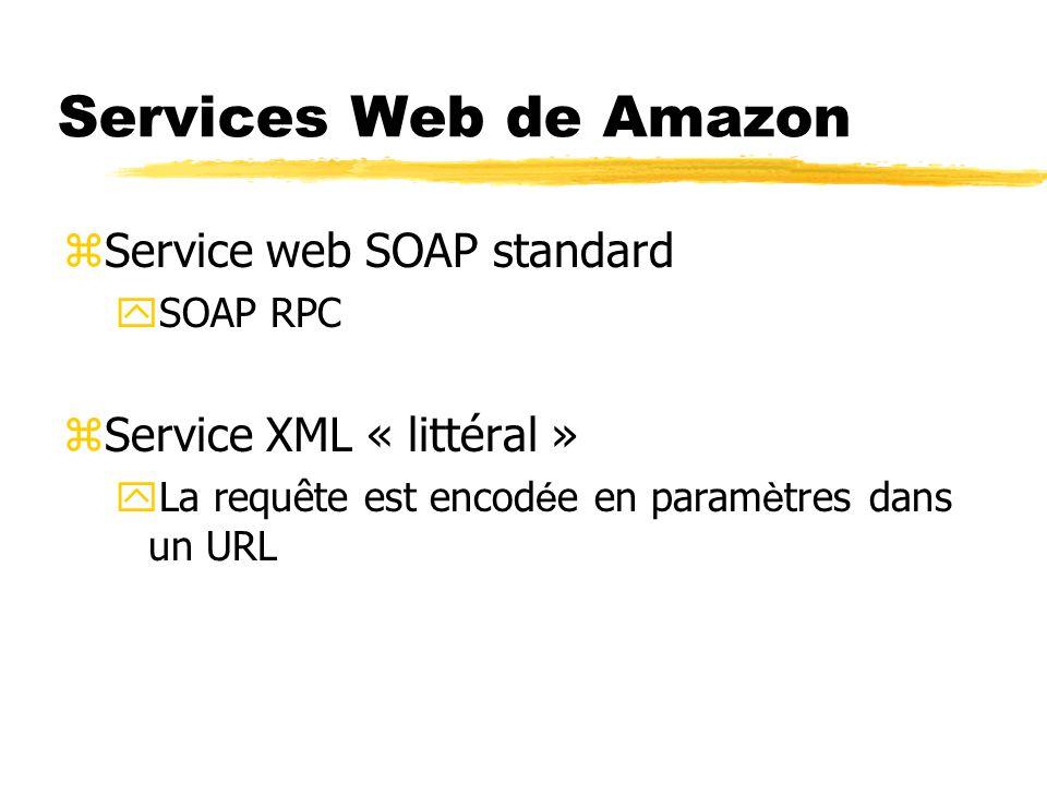 Services Web de Amazon zService web SOAP standard ySOAP RPC zService XML « littéral »  La requête est encod é e en param è tres dans un URL