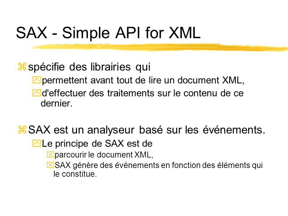 SAX - Simple API for XML zspécifie des librairies qui ypermettent avant tout de lire un document XML, yd effectuer des traitements sur le contenu de ce dernier.