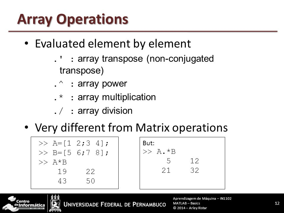 Array Operations Evaluated element by element.' : array transpose (non-conjugated transpose).^ : array power.* : array multiplication./ : array divisi