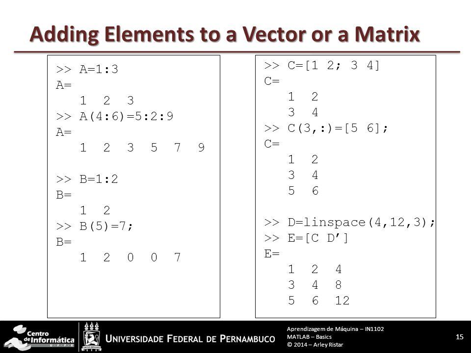 >> A=1:3 A= 1 2 3 >> A(4:6)=5:2:9 A= 1 2 3 5 7 9 >> B=1:2 B= 1 2 >> B(5)=7; B= 1 2 0 0 7 >> C=[1 2; 3 4] C= 1 2 3 4 >> C(3,:)=[5 6]; C= 1 2 3 4 5 6 >> D=linspace(4,12,3); >> E=[C D'] E= 1 2 4 3 4 8 5 6 12 Adding Elements to a Vector or a Matrix 15 Aprendizagem de Máquina – IN1102 MATLAB – Basics © 2014 – Arley Ristar