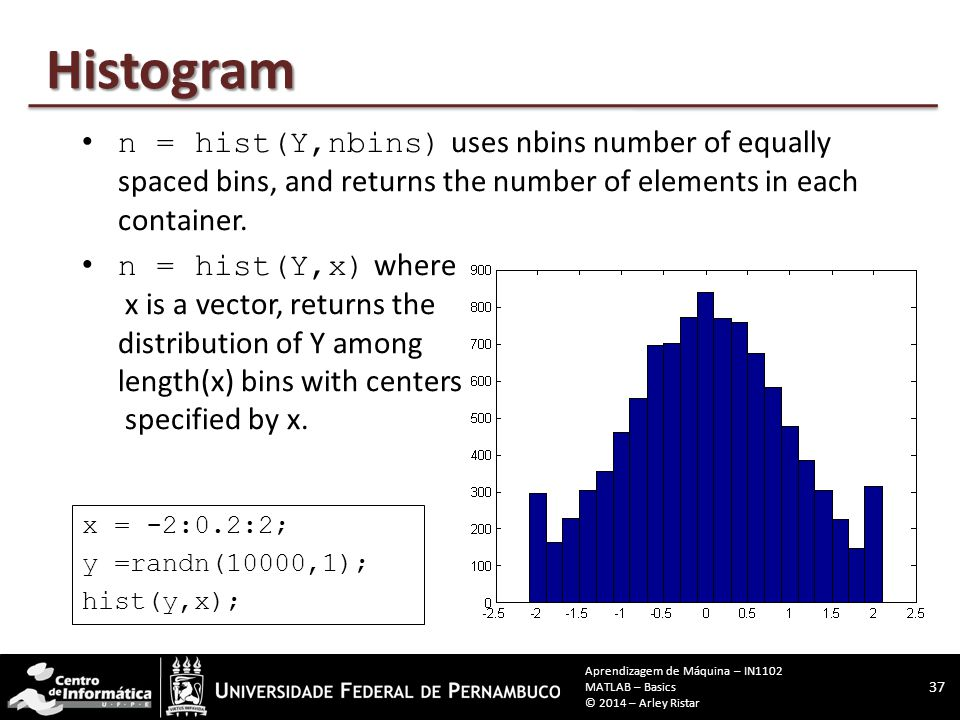 Histogram n = hist(Y,nbins) uses nbins number of equally spaced bins, and returns the number of elements in each container. n = hist(Y,x) where x is a