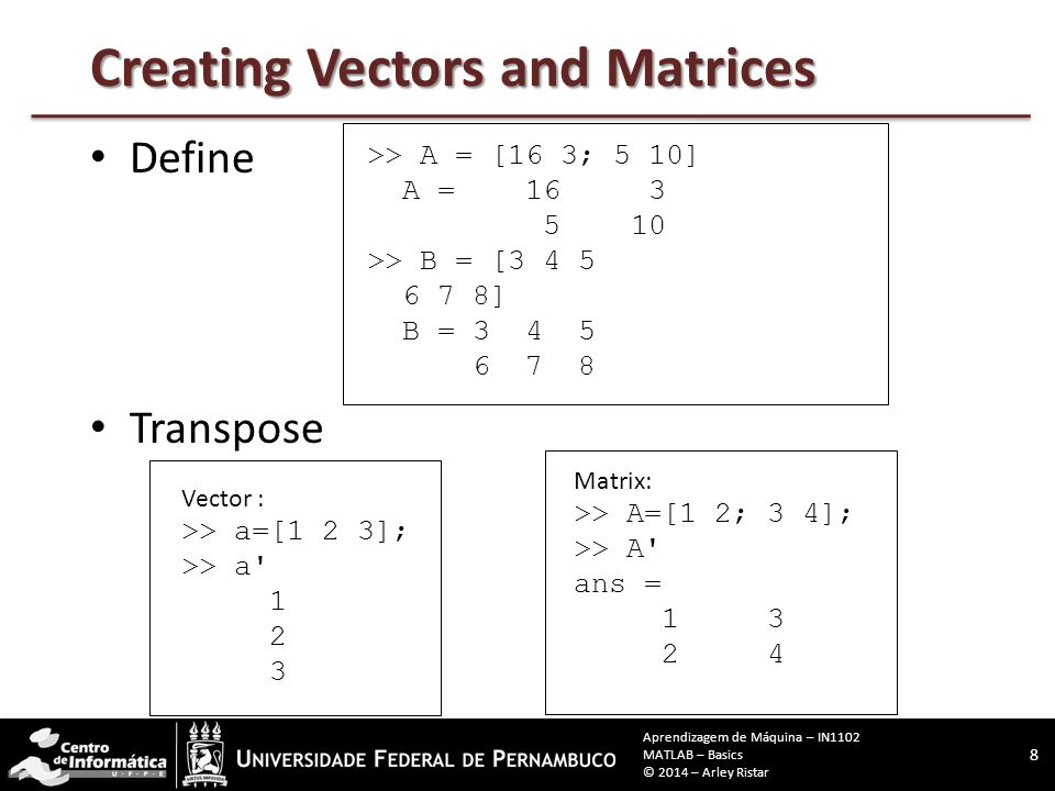 Creating Vectors and Matrices Define Transpose Vector : >> a=[1 2 3]; >> a Matrix: >> A=[1 2; 3 4]; >> A ans = >> A = [16 3; 5 10] A = >> B = [ ] B = Aprendizagem de Máquina – IN1102 MATLAB – Basics © 2014 – Arley Ristar
