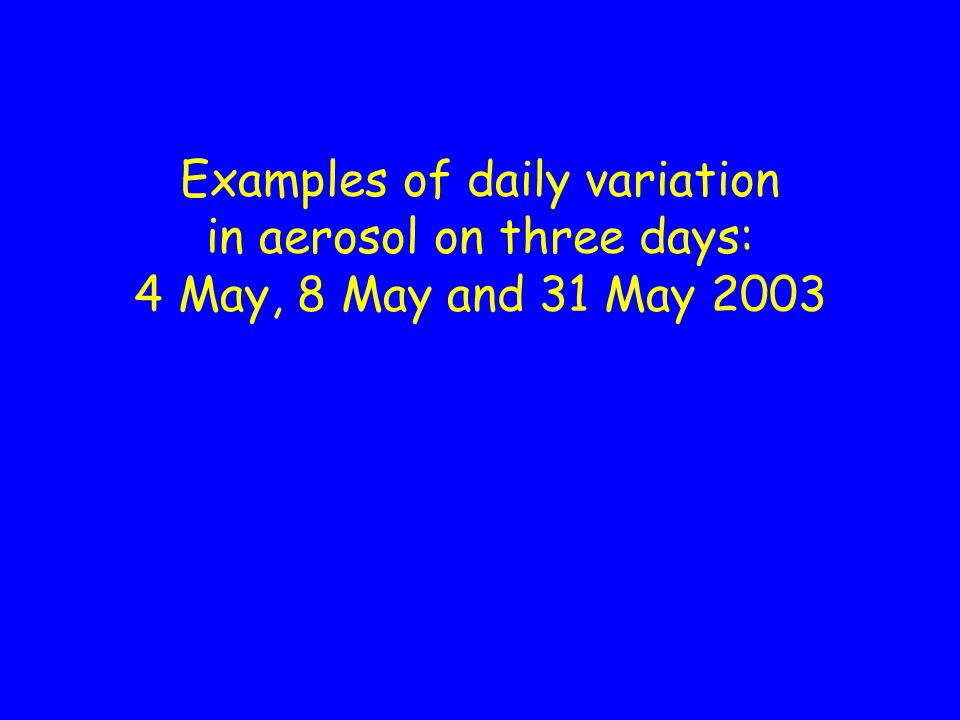 Diurnal variation of aerosol on 4 May 2003 AOT at 501 nmAngstrom parameter