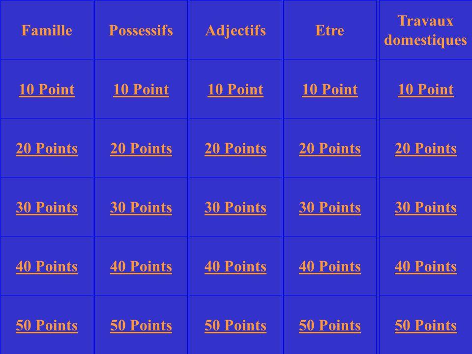 PossessifsEtre Travaux domestiques 10 Point 20 Points 30 Points 40 Points 50 Points 10 Point 20 Points 30 Points 40 Points 50 Points 30 Points 40 Points 50 Points AdjectifsFamille