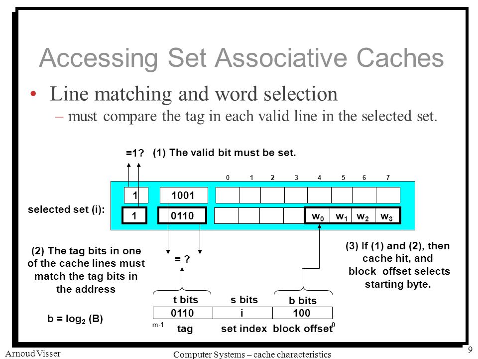 University of Amsterdam Computer Systems – cache characteristics Arnoud Visser 9 Accessing Set Associative Caches Line matching and word selection –must compare the tag in each valid line in the selected set.