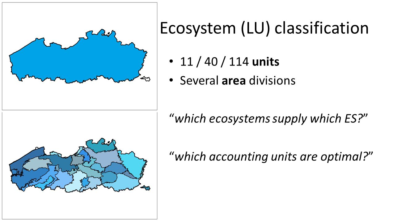 11 / 40 / 114 units Several area divisions which ecosystems supply which ES which accounting units are optimal Ecosystem (LU) classification