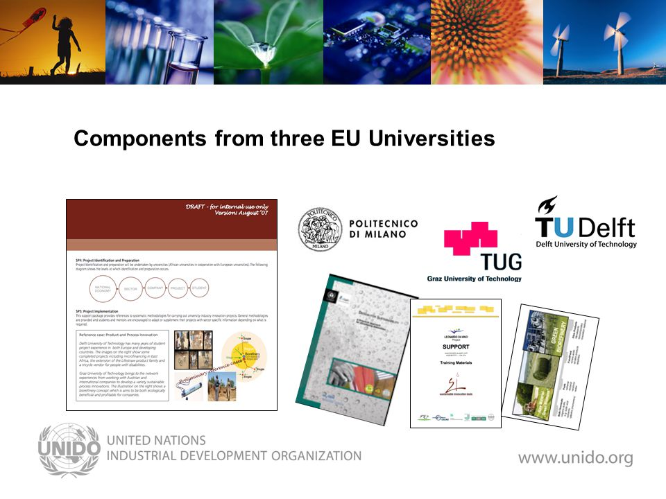 Components from three EU Universities