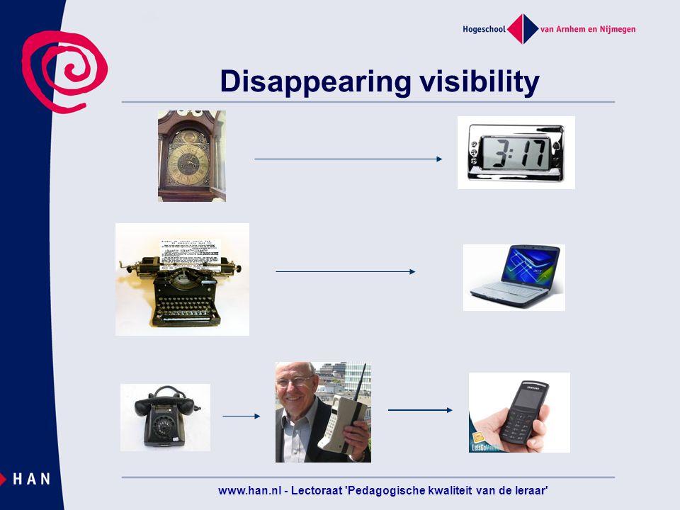 www.han.nl - Lectoraat Pedagogische kwaliteit van de leraar Disappearing visibility