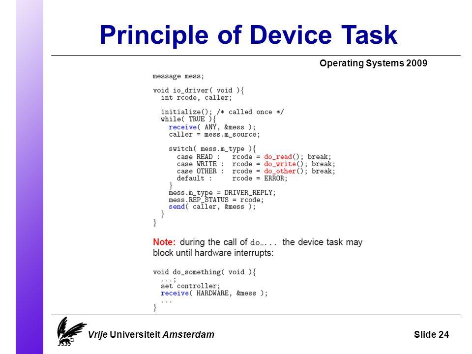 Principle of Device Task Operating Systems 2009 Vrije Universiteit AmsterdamSlide 24