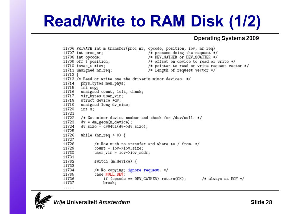 Read/Write to RAM Disk (1/2) Operating Systems 2009 Vrije Universiteit AmsterdamSlide 28