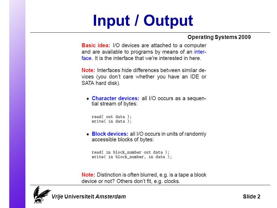 Input / Output Operating Systems 2009 Vrije Universiteit AmsterdamSlide 2