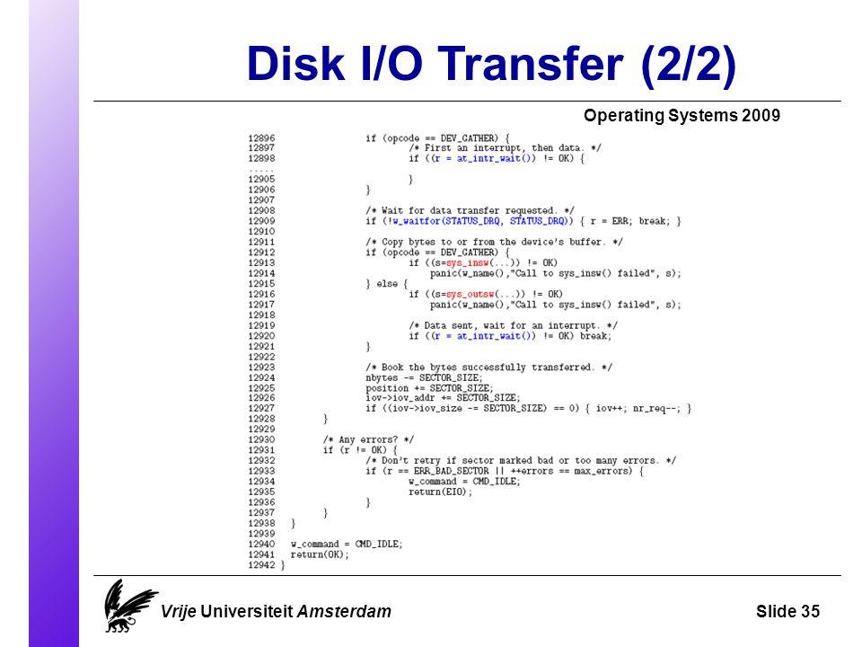 Disk I/O Transfer (2/2) Operating Systems 2009 Vrije Universiteit AmsterdamSlide 35