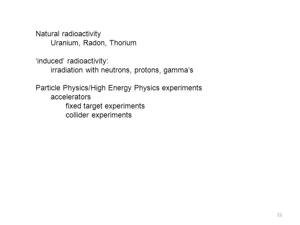 Natural radioactivity Uranium, Radon, Thorium 'induced' radioactivity: irradiation with neutrons, protons, gamma's Particle Physics/High Energy Physic