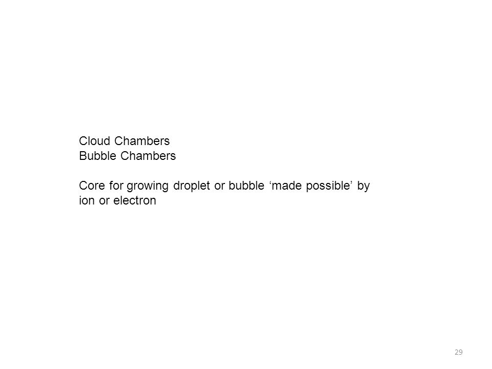Cloud Chambers Bubble Chambers Core for growing droplet or bubble 'made possible' by ion or electron 29