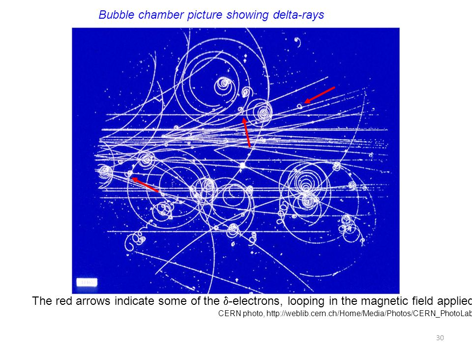 CERN photo, http://weblib.cern.ch/Home/Media/Photos/CERN_PhotoLab/?p= Bubble chamber picture showing delta-rays The red arrows indicate some of the 