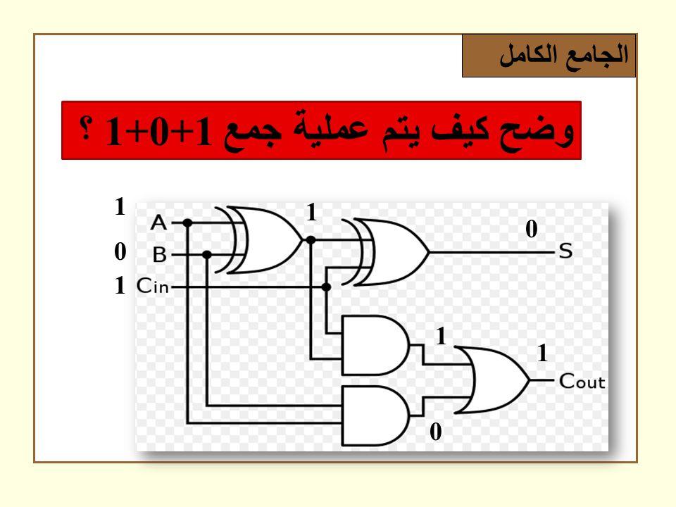 الجامع الكامل وضح كيف يتم عملية جمع 1+0+1 ؟ 1 0 1 1 0 0 1 1