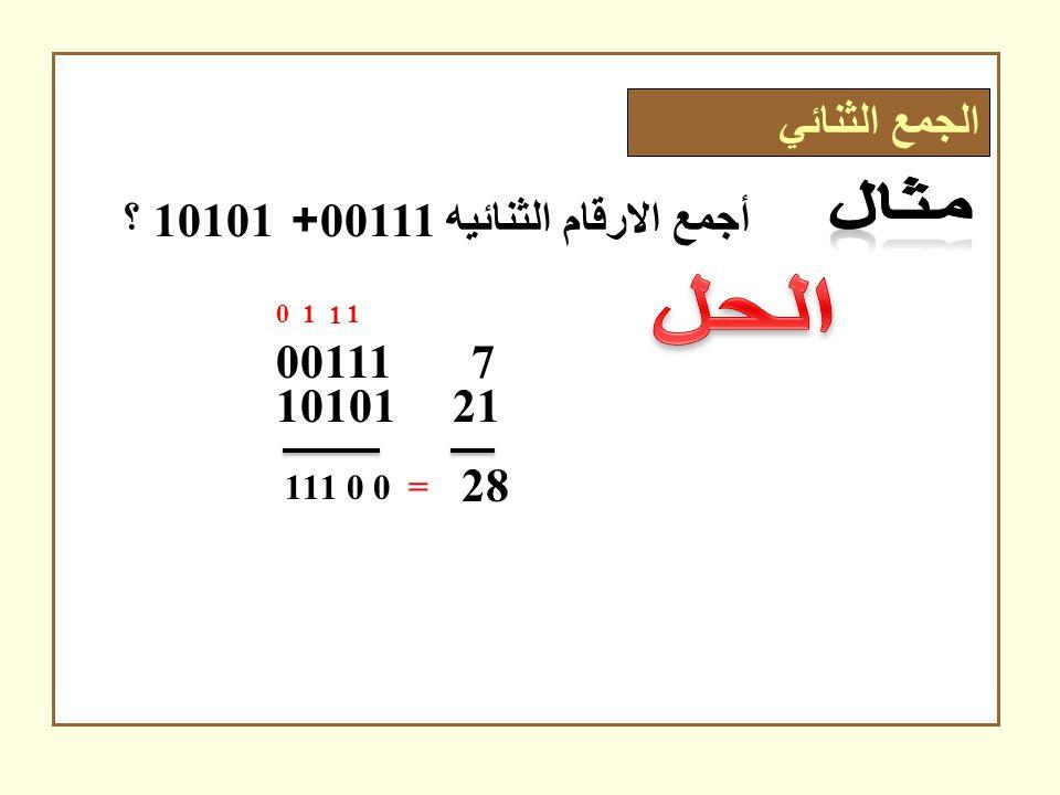 أجمع الارقام الثنائيه 00111+ 10101 ؟ 00111 7 10101 21 0 1 0 1 1 1 1 0 1 28 = الجمع الثنائي