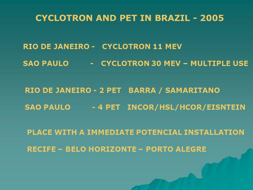 CYCLOTRON AND PET IN BRAZIL - 2005 RIO DE JANEIRO - CYCLOTRON 11 MEV SAO PAULO - CYCLOTRON 30 MEV – MULTIPLE USE RIO DE JANEIRO - 2 PET BARRA / SAMARITANO SAO PAULO - 4 PET INCOR/HSL/HCOR/EISNTEIN PLACE WITH A IMMEDIATE POTENCIAL INSTALLATION RECIFE – BELO HORIZONTE – PORTO ALEGRE