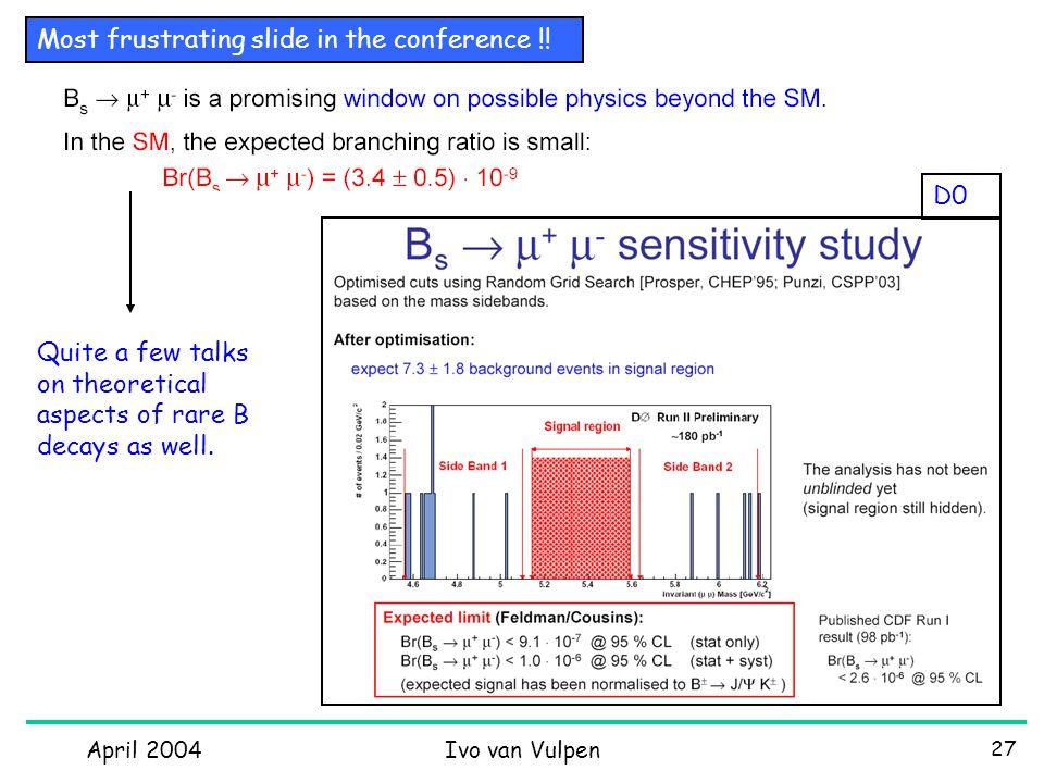 April 2004Ivo van Vulpen 27 Most frustrating slide in the conference !.