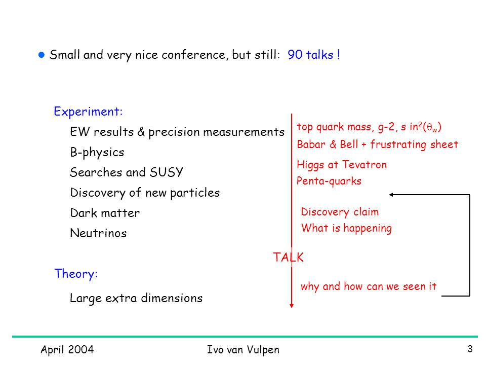 April 2004Ivo van Vulpen 24 2 odd things BABAR and Belle attacking the CKM matrix from all sides CP violation in B 0 ->  +  - Belle B->  K s 3.5  deviation from SM Do they agree on everything ?.
