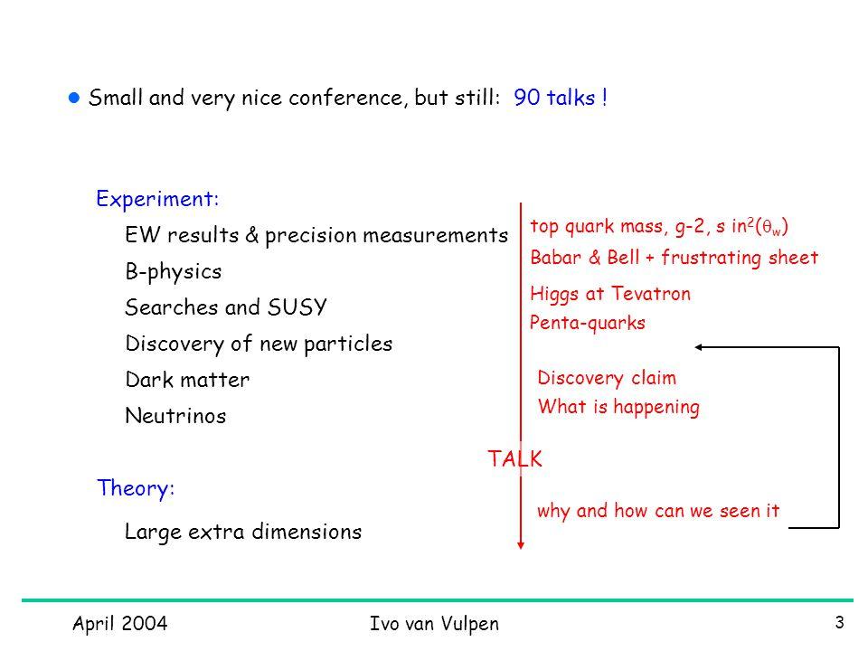April 2004Ivo van Vulpen 44 Detecting WIMPS (2)
