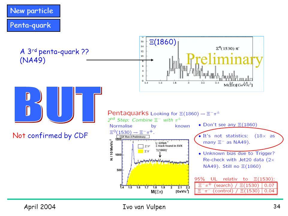 April 2004Ivo van Vulpen 34 New particle Penta-quark A 3 rd penta-quark ?.