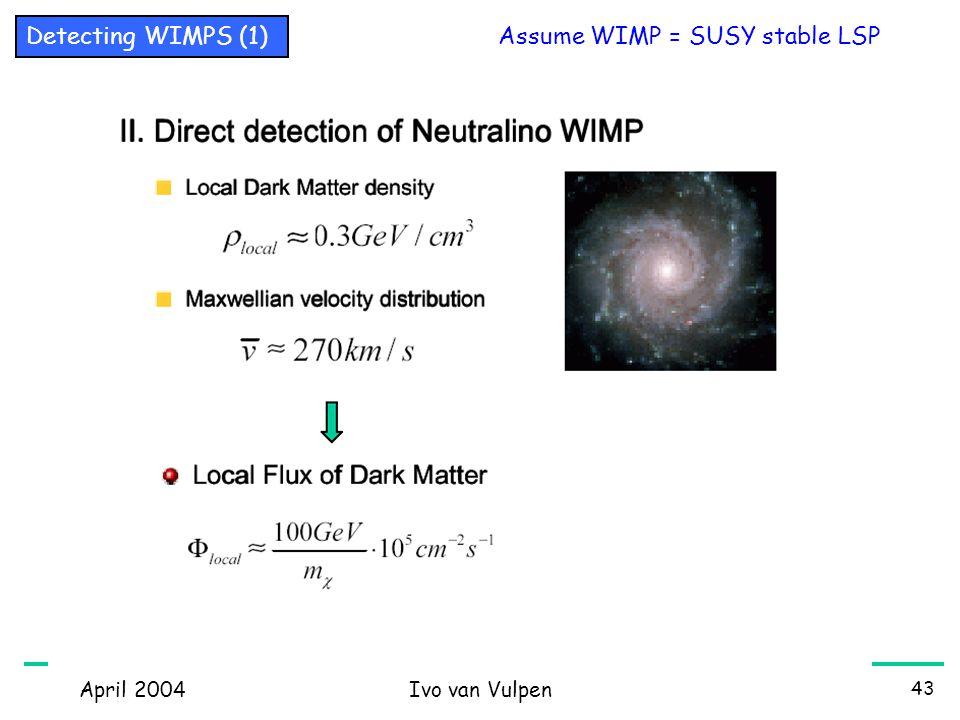 April 2004Ivo van Vulpen 43 Assume WIMP = SUSY stable LSP Detecting WIMPS (1)