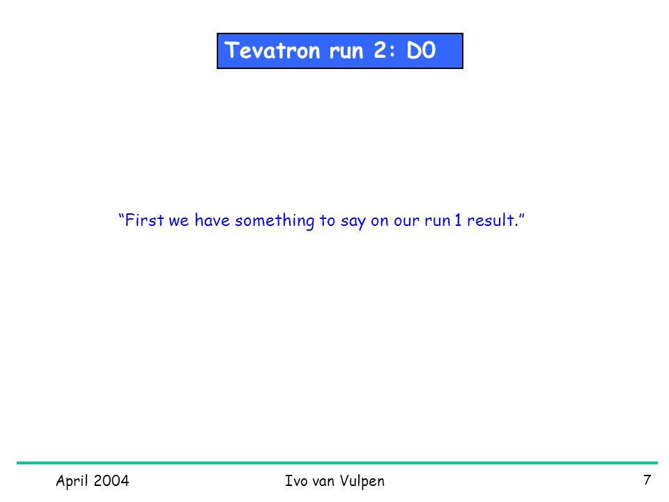 April 2004Ivo van Vulpen 28 Higgs 1 sheet Tevatron running &