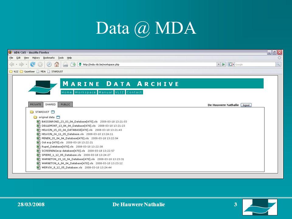 28/03/2008De Hauwere Nathalie 3 Data @ MDA